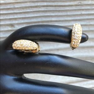 Dior Classic Vintage Gold Crystal Clip Earrings!